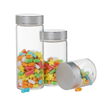 1pcs Transparent Glass Candy Jar Candy Bottle Candy Storage Tank with Cover for Party Baby Shower Favor Home Supplies Decor image