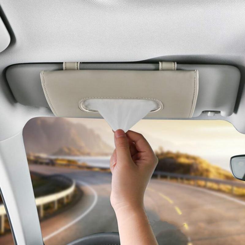 Sol do carro Assento de Carro Pendurado Saco De Papel Toalha Multi-Função de Couro Caixa de Toalha de Papel caixa de Tecido caixa de Carro Sombra