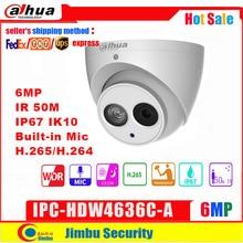 داهوا 6MP IP كاميرا IPC HDW4636C A الجسم المعدني H.265 المدمج في هيئة التصنيع العسكري IR50m IP67 IK10 كاميرا بشكل قبة لا بو الكشف الذكية