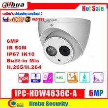 Dahua 6MP IP מצלמה IPC HDW4636C A מתכת גוף H.265 מובנה מיקרופון IR50m IP67 IK10 כיפת מצלמה לא POE חכם זיהוי
