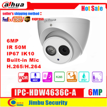 Dahua cámara IP de 6MP IPC HDW4636C A cuerpo de Metal, H.265, con micrófono incorporado, IR50m, IP67, IK10, no con detección inteligente POE