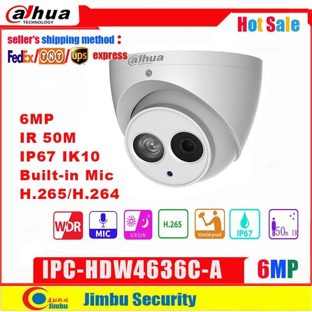 Macchina fotografica incorporata della cupola del MIC IR50m IP67 IK10 non rilevazione astuta di POE della macchina fotografica del IP di Dahua 6MP IPC HDW4636C A corpo H.265