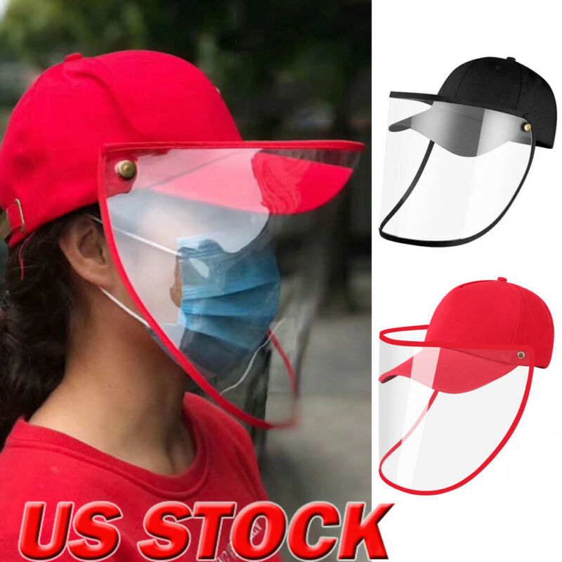New Men Women Protective Clear Face Mask Cap Anti-fog Dust Windproof Outdoor Hat Red Black