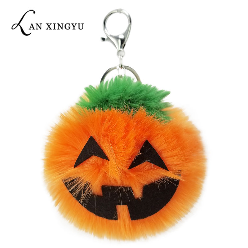 Creative Halloween Pumpkin Ball Keychain Non-woven Artificial Hair Ball Lady Bag Pumpkin Lantern Key Chain Car Key Alloy Pendant