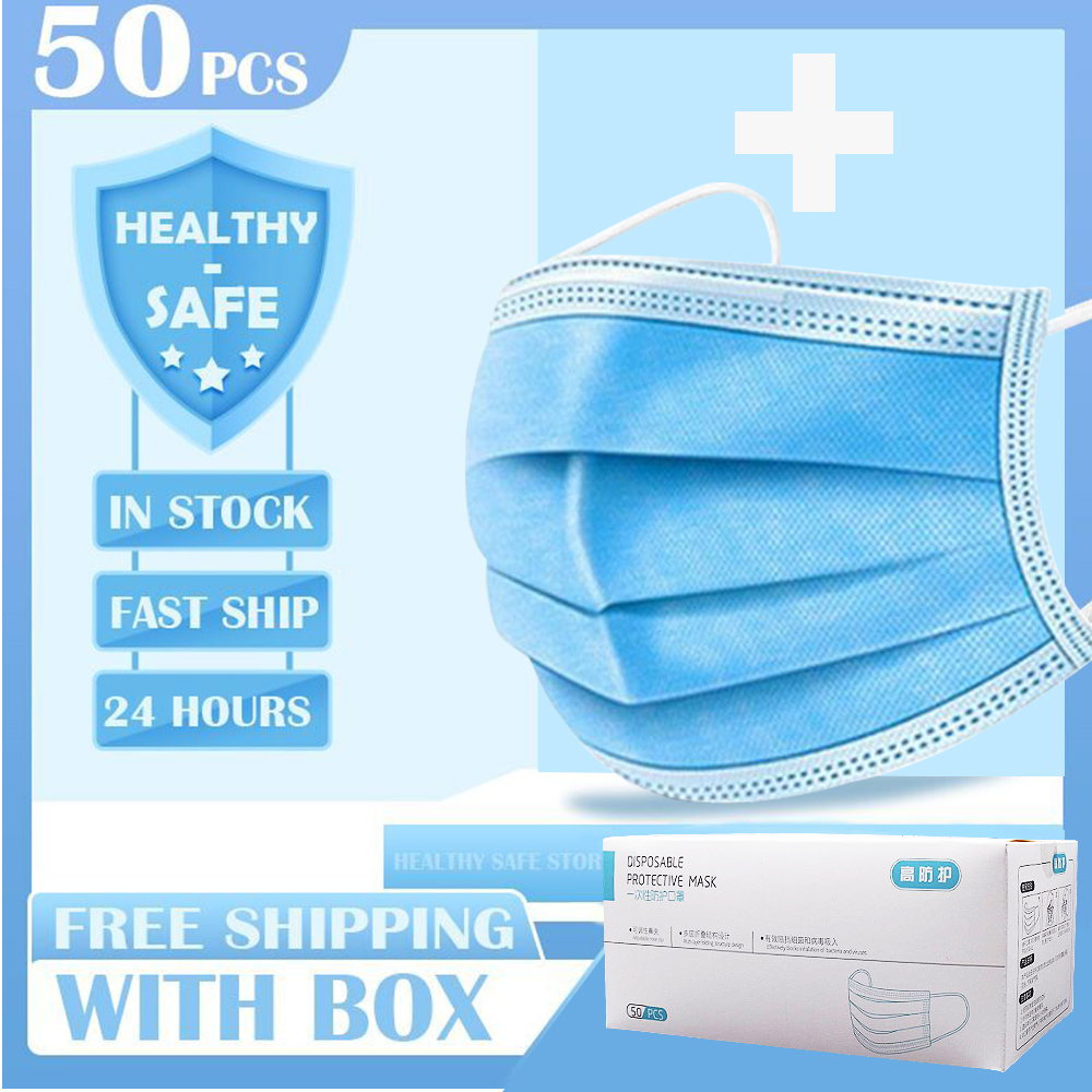 50Pcs Disposable PM2.5 3 Layers Influenza Dustproof Face Mouth Masks  Non-woven Melt Blown 3-layer Soft Breathable Mask