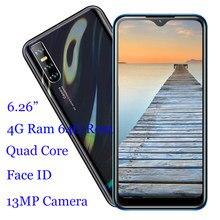 Note10 Handys Android Wasser Tropfen Bildschirm 4G RAM 64G ROM Quad Core Smartphones Handys Gesicht Entsperrt Celular 6,26 zoll