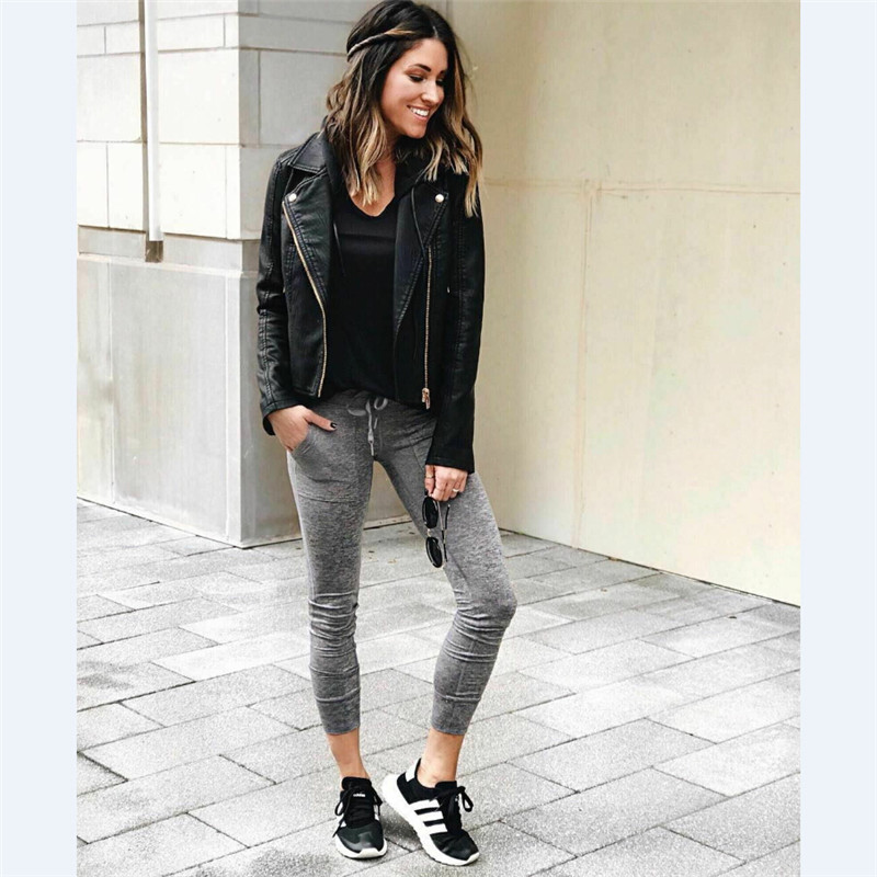 Women's Long Sleeve Stand Collar Leather Jacket Loose Warm Zip Leather Jacket