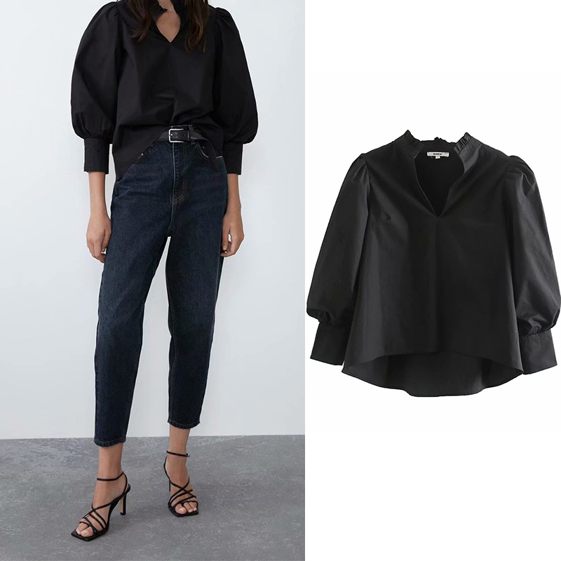 Fashion Za 2019 Black Shirt Women Puff Sleeve Female Tops And Blouses Chic Office Wear Female Shirt Top Blusas