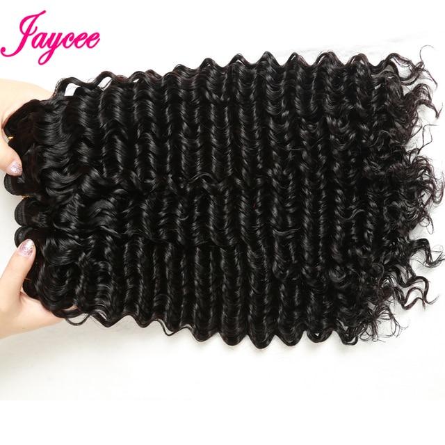 Brazilian Deep Wave Bundles With Closure 4*4 Tissages Bresilien Human Hair Extensions Brazilian Hair Weave Bundles with Closure 3