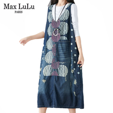 Vest Dress Max-Lulu Vintage Spring Womens Luxury Designer Female Denim European