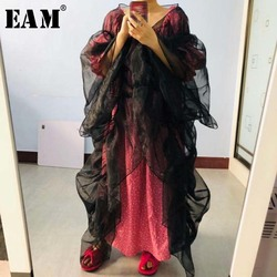 [EAM] Women Black Ruffles Organza Big Size Blouse New V-collar Long Sleeve Loose Fit Shirt Fashion Tide Spring Summer 2020 1W437