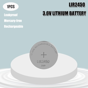 1pcs 3.6V LIR2450 120mAh Rechargeable Batteries 500 Times Lithium Coin Cell Button Battery Replaced CR2450 LM2450