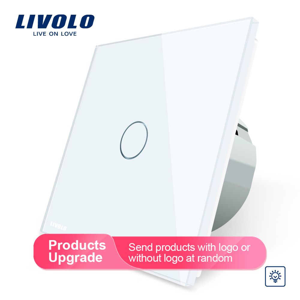 Image 2 - Livolo стандарт ЕС Диммер настенный выключатель, AC 220 ~ 250 В, Хрустальная стеклянная панель, 1 комплект 1 способ диммер, VL C701D 1/2/3/5-in Выключатели from Товары для дома