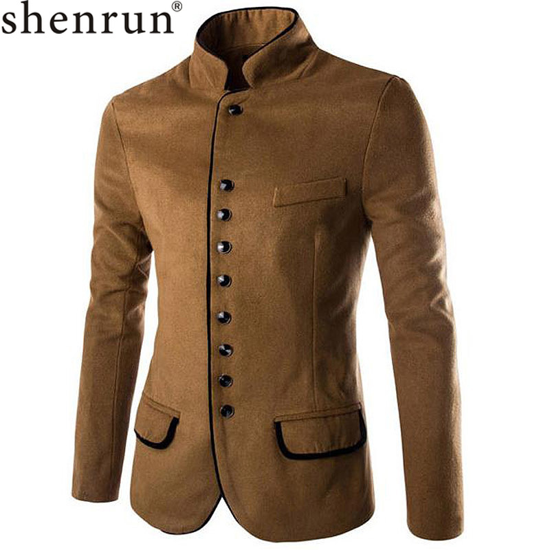 Shenrun Men Blazers Black Camel Suit Jacket Autumn Winter Woolen Stand Collar Single Breasted Fashion Male Jackets Causal Formal