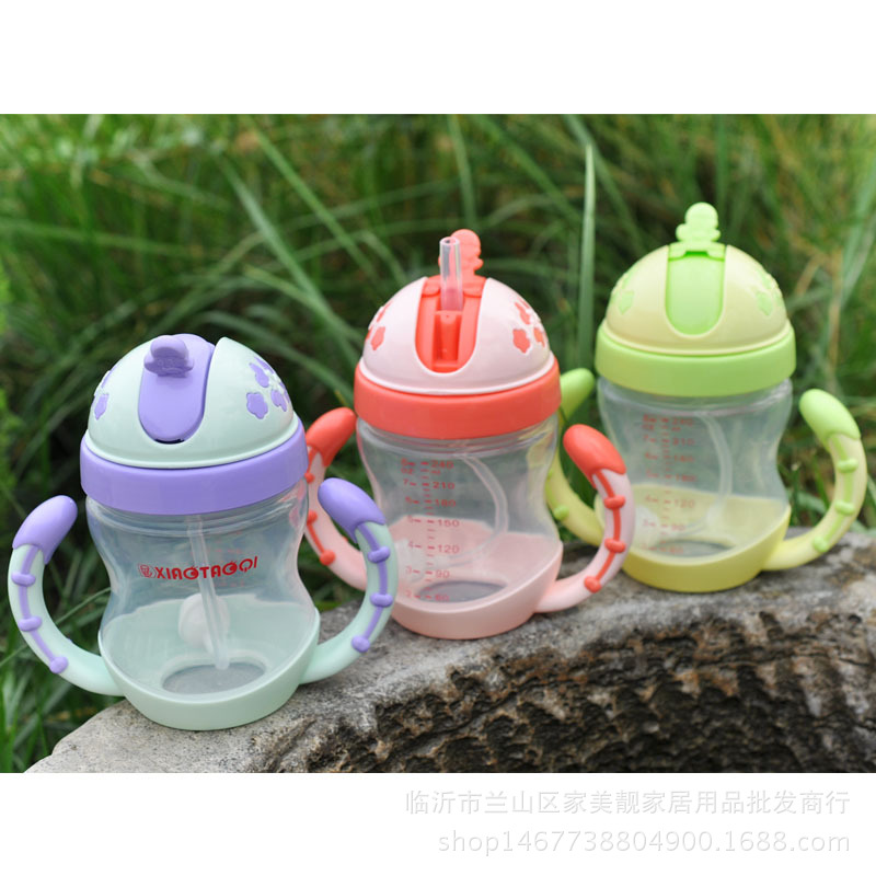 Infant Cup With Straw Children Sippy Cup With Handle Glass Cartoon Shatter-resistant Cup Pp