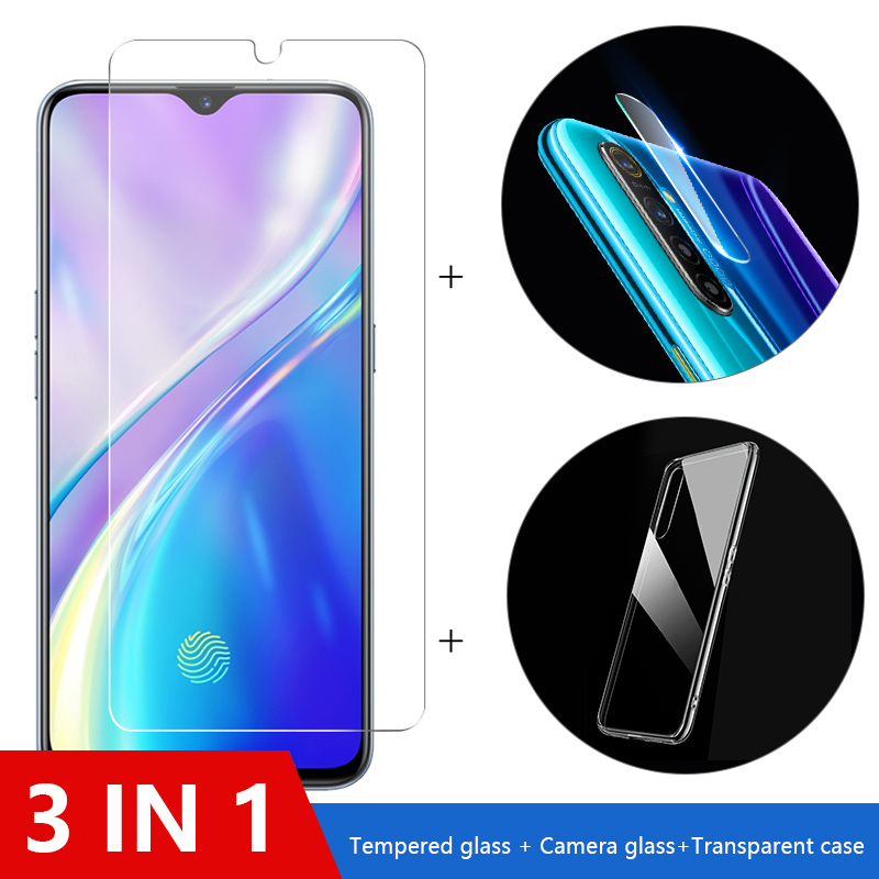 3-in-1 Case + Camera Glass For Realme Xt X50 Screen Protector Lens Glass On Realme X2 5 6 Pro 5i C3 A5 A9 2020 Protective Glass