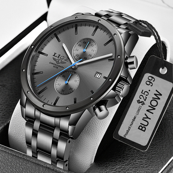 New LIGE Men Watch Luxury Brand Business Black Quartz Watches For Mens Waterproof Chronograph Sport Wristwatch Date Male Clock chronograph watch mens wallet gift set for male luxury wristwatch for men quartz leather strap wrist clock birthday gift reloj