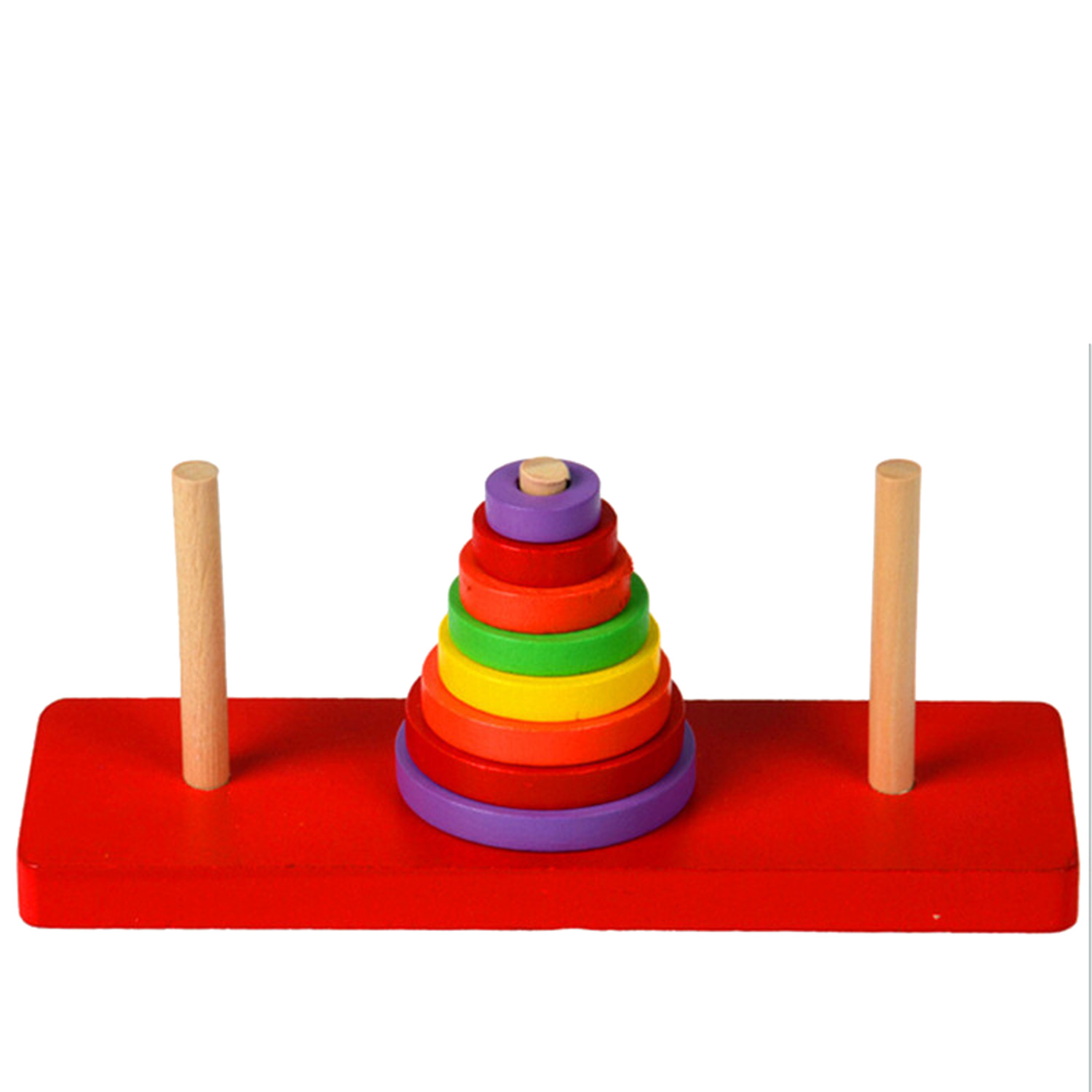 8 Layers Baby Cartoon Wooden Rainbow Ring Tower Stacking Blocks Matching Stack Up Blocks Early Learning Educational Toy