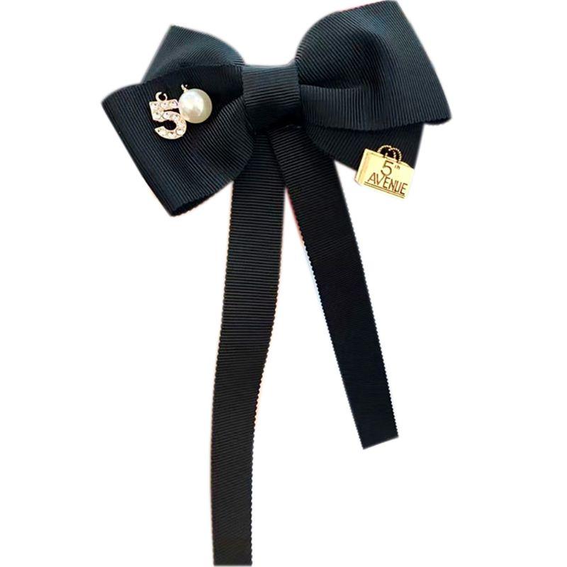 Vintage Luxury Women Long Ribbon Bow Tie Brooch Number 5 Faux Pearl Lapel Pin Pre-Tied Necktie