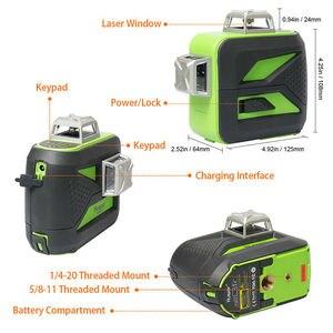 Image 2 - Самонивелирующийся лазерный 3D уровень Huepar, 12 линий, зеленый луч, пересечение горизонталей и вертикалей на 360 градусов
