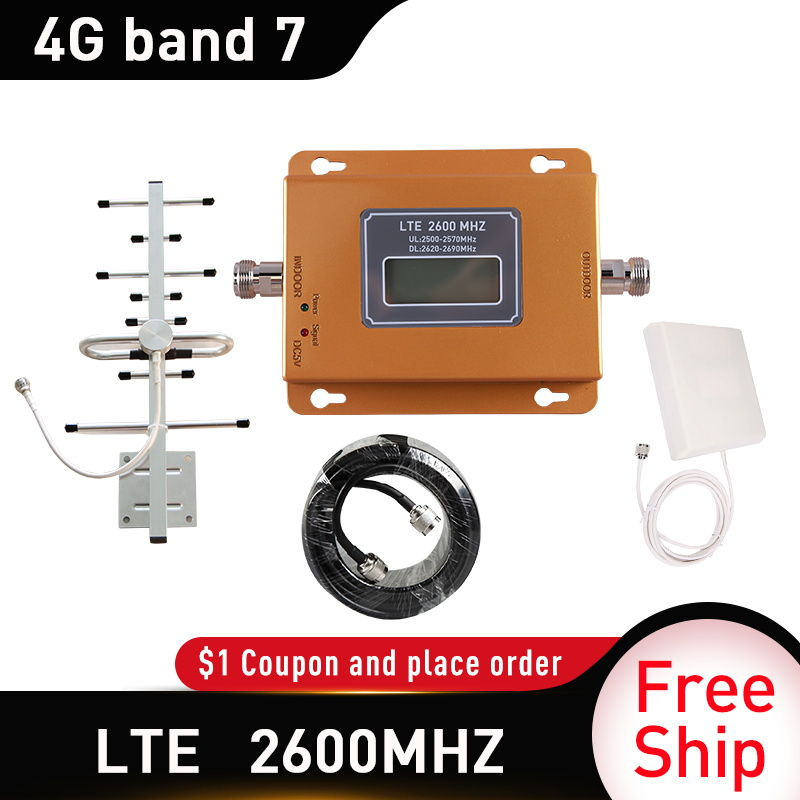 65dB Gain 4G LTE DCS 2600mhz Moblie Phone Booster 2600 Signal Repeater 9dbi Panel Indoor Antenna 4G Network Cellular Amplifier