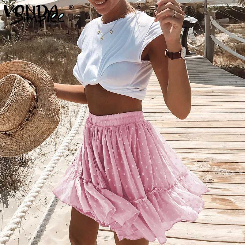 Bohemian Women Polka Dot Short Skirts Beach Holiday Wear VONDA 2020 Summer A Line Printed Ruffle Pleated Mini Skirts Plus Size