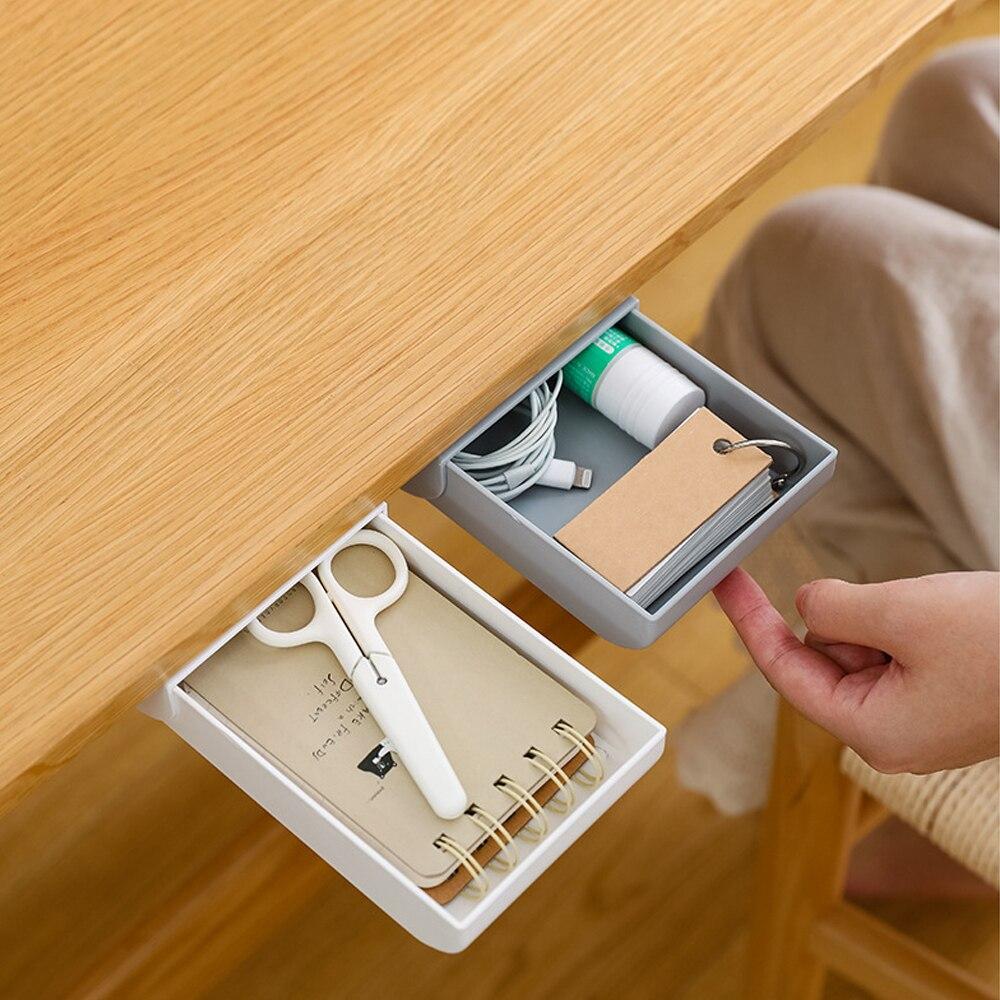 NEW Hidden Table Under Paste Plastic Desk Organizer Pen Stationery Storage Box Case Desk Drawer Divider Stationery Sticky Decor