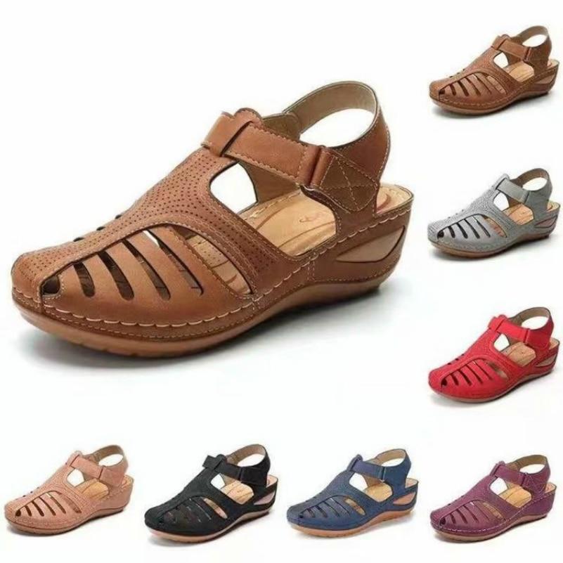 2020 Top Seller Women  Sandals Vintage Polka Dot Summer Shoes Anti-slip Round-Toe Slanted Heel Comfortable Girl's Sandals