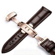 Pulseira de couro genuíno pulseira de aço inoxidável borboleta fecho 13mm 14mm 15mm 16mm 17mm 18mm 19mm 20m 21mm 22mm relógio pulseira