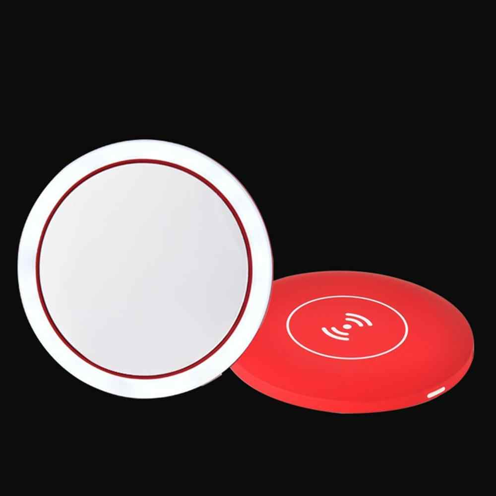 Умный светодиодный зеркальный макияж портативное косметическое зеркало с регулируемой яркостью светодиодный с 3 уровнями освещения Беспроводная зарядка косметическое зеркало 360 RingLight