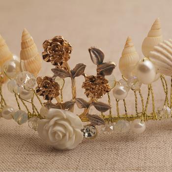 Vintage złota perełka liść diadem dla panny młodej kryształowa korona Hairband chluba Tiara ślubne akcesoria do włosów panna młoda z pałąkiem na głowę szyszka tanie i dobre opinie CN (pochodzenie) STOP WOMEN Cztery pory roku Dla osób dorosłych Dekoracji Na imprezę Tiara Crown Tiaras Floral moda headband