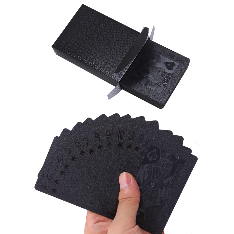 Waterproof Plastic Playing Cards Gold Black Poker Cards Collection Durable Creative Gift Cards Plastic Poker Game Cards
