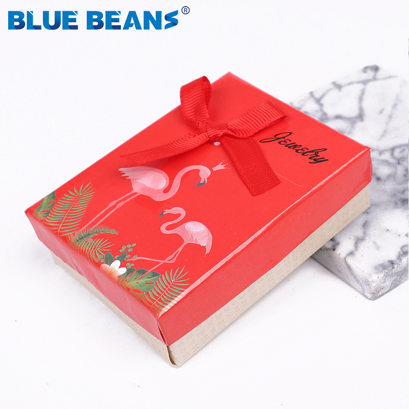 Square Jewelry Box Organizer Holder Carton Bow Shape Red White Box Engagement Ring For Earrings Necklace Bracelet Display Gift