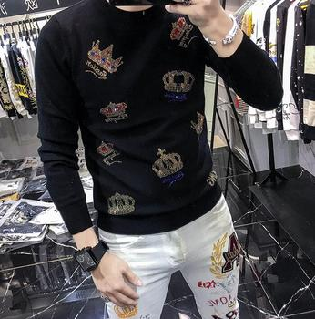 black diamond crown style trendy men's sweater