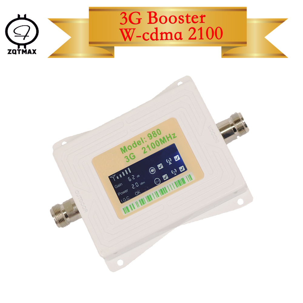 ZQTMAX 62db 3G Signal Booster 2100 MHz Band B1 UMTS Cellular Amplifier Mini Lcd Display