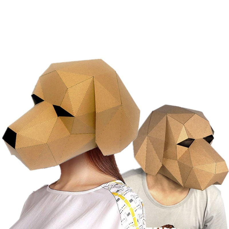 3d Dog DIY Mask Cosplay Christmas Costume  Adult Children Cardboard Breathable Halloween Ricky Funny Masks