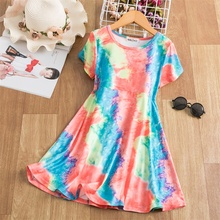 Summer Dresses For Girls Tie Dye Clothes Rainbow Colorful Printed Princess Dress 3 4