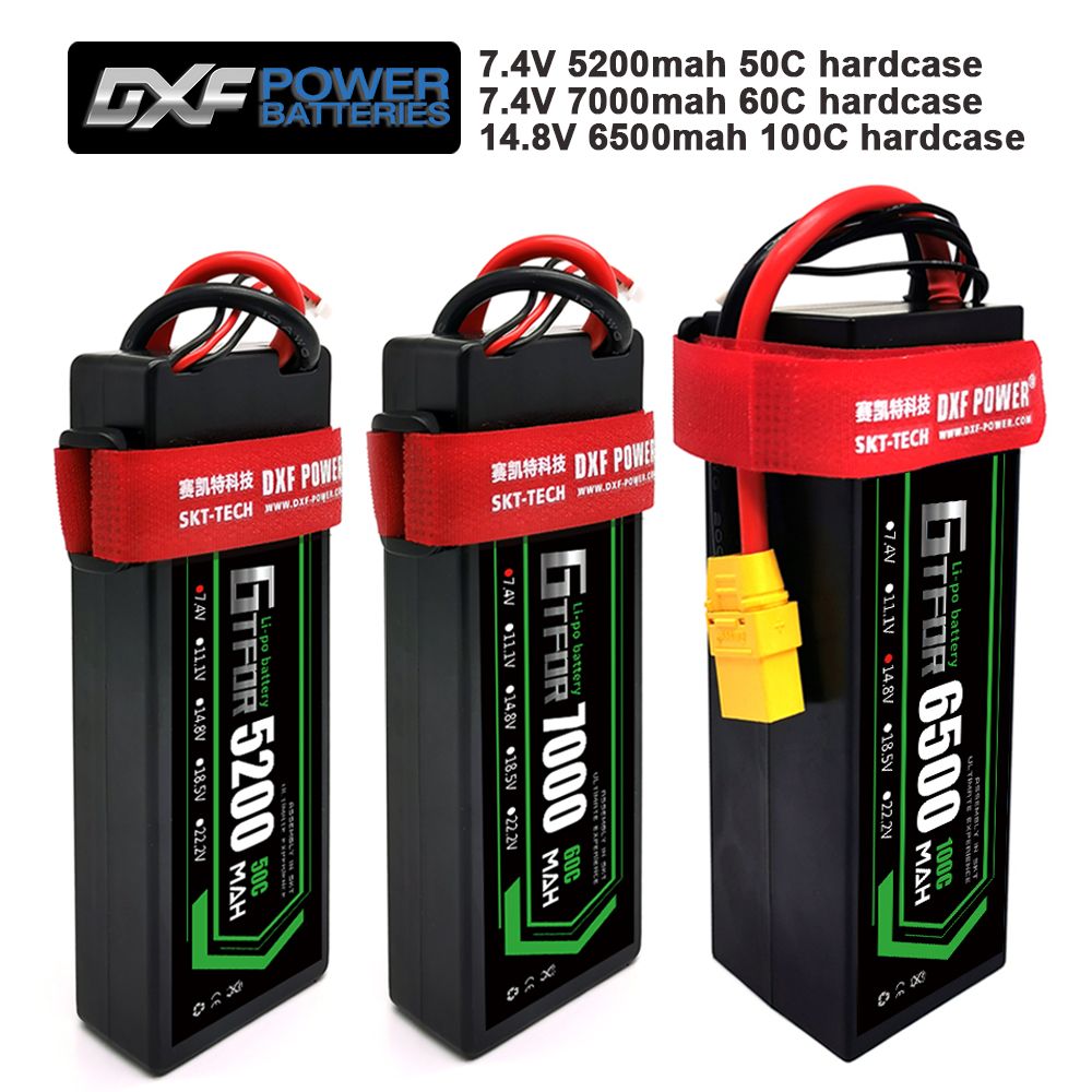 GTFDR <font><b>Lipo</b></font> Battery 2S <font><b>4S</b></font> 7.4V <font><b>5200mah</b></font> 50C/7.4V 7000mah 60C/ <font><b>4S</b></font> 14.8V 6500mAh 100C Hard Case For 1:8 1:10 RC Buggy Truggy Car image