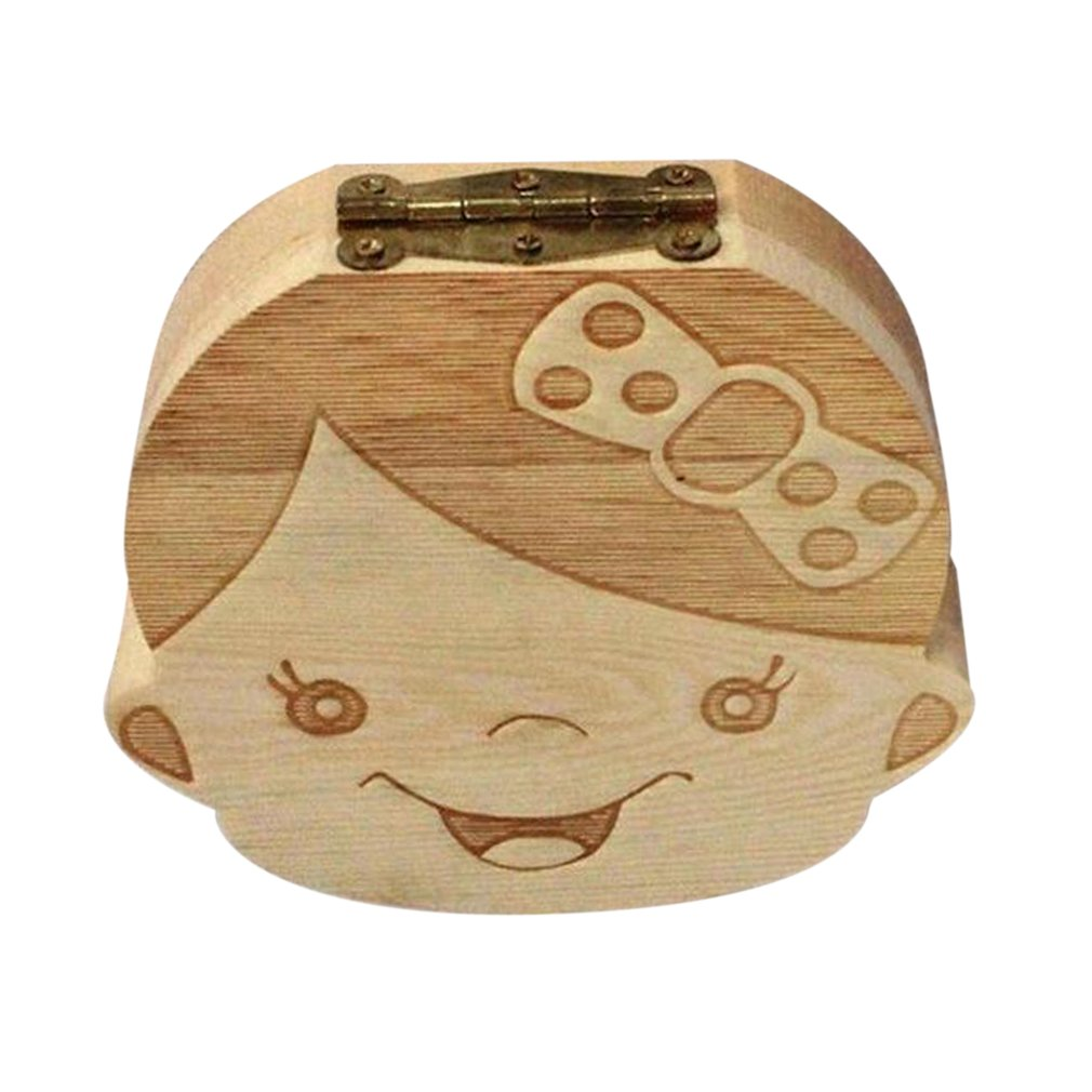 English Baby Fallen Tooth Box Wood Box FrenchText Baby Boy Girl Wood Case Save Milk Teeth Collection Organizer New Sale