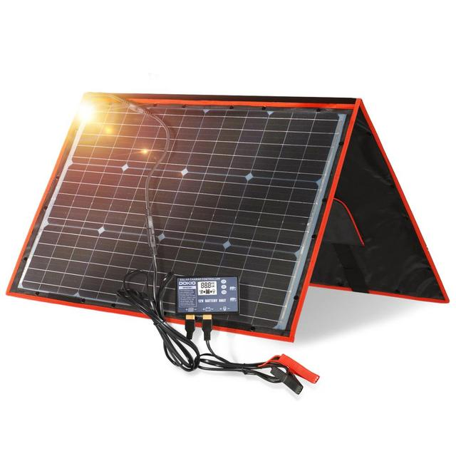 Dokioยี่ห้อ100W (50W X 2Pcs) ยืดหยุ่นพับเก็บได้Monoแผงเซลล์แสงอาทิตย์100WสำหรับTravel & เรือและRVคุณภาพสูงแบบพกพาแผงพลังงานแสงอาทิตย์จีน