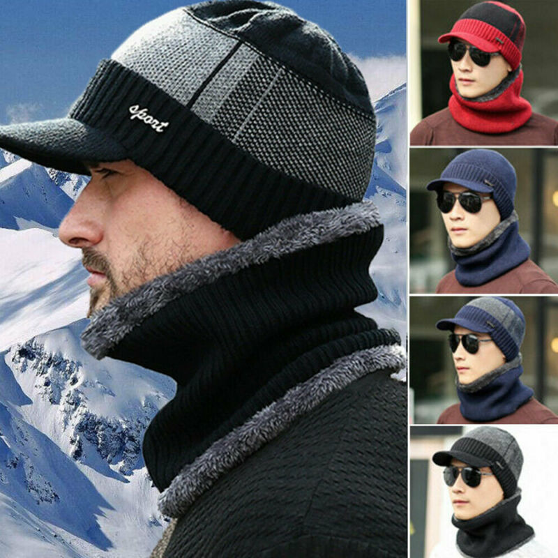 2pcs Men's Winter Warm Hat Scarf Set Casual Man Knitted Wool Fleece Brim Cap Outdoor Thick Scarves