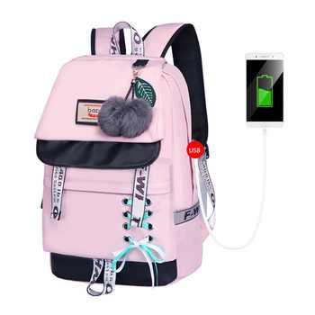 FengDong cute cat printing school backpack for girls waterproof book bag children school bags female travel laptop backpack usb