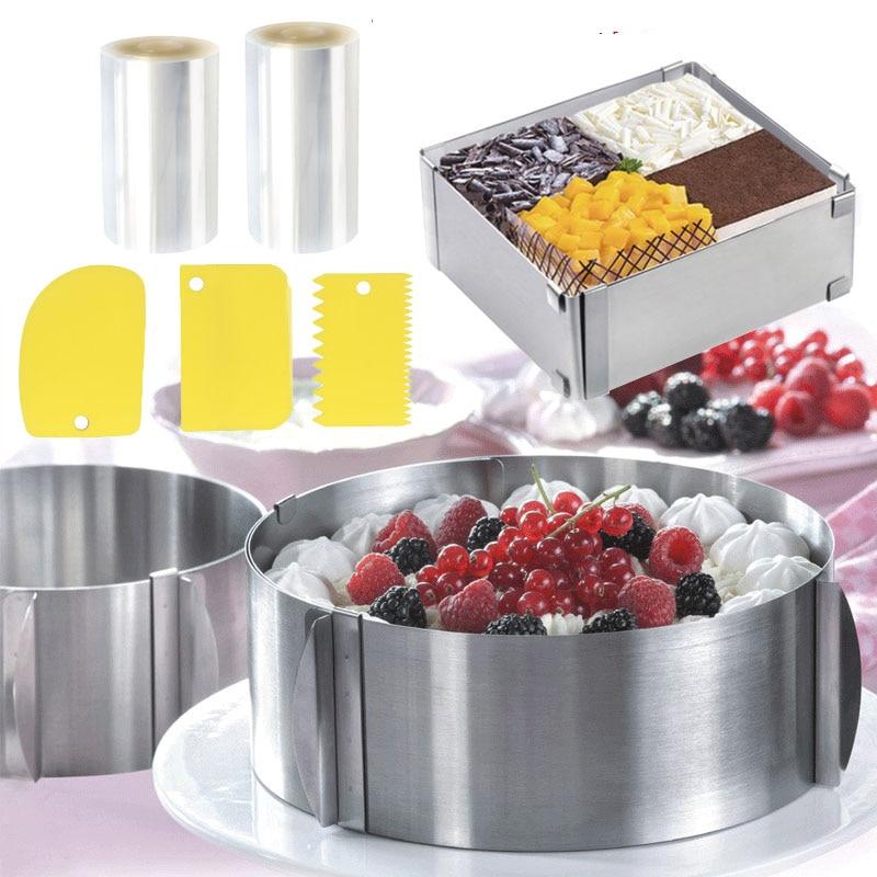 Регулируемый мусс кольцо представительского класса со стальным браслетом торта для выпечки муссов торт объемный пленка торт воротник выпе...