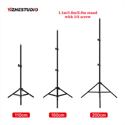 Yizhestudio Photographic lighting stand ,1.1m/1.6m/2.0m ring lamp stand with 1/4 screw adjustable tripod suit for ring light