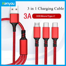 3in1 Daten USB Kabel für iPhone Schnelle Ladegerät Ladekabel Für Android telefon typ c xiaomi huawei Samsung Ladegerät Draht für