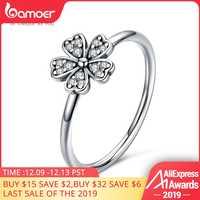 BAMOER dos colores moda elegante Original Plata de Ley 925 deslumbrante Margarita flor anillo claro CZ boda joyería SCR398