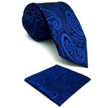 Blue Paisley Mens Necktie Set Silk Fashion Designer Dress Pocket Square Groom Extra long size