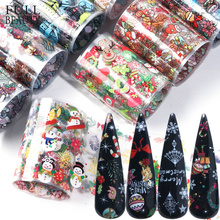 10 sztuk świąteczne ozdoby do paznokci Mix kolorowe naklejki foliowe na paznokcie naklejki śnieg kwiat łoś prezent Santa papier samoprzylepny CH1036 1