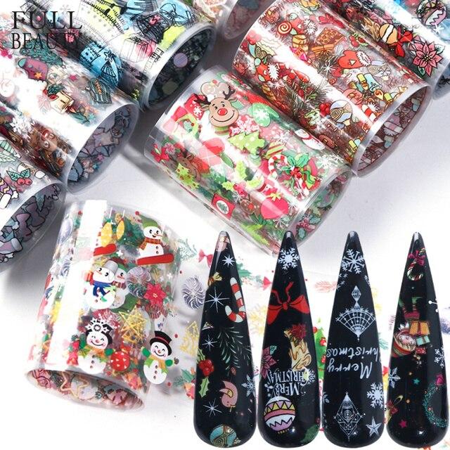 10pcs חג המולד קישוטי ציפורניים לערבב צבעוני העברת נייל לסכל מדבקת שלג פרח איילים מתנה סנטה דבק נייר CH1036 1