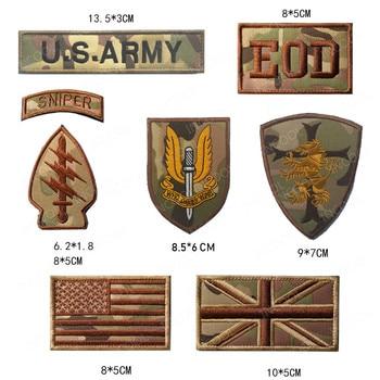 Francotirador parches bordados explosivos ejército táctico parche de moral militar Reino Unido bandera estadounidense brazalete medallas decorativas pegatinas CP